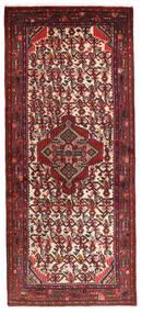 Hamadan Matta 78X185 Äkta Orientalisk Handknuten Hallmatta Mörkröd/Mörkbrun (Ull, Persien/Iran)