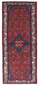 Hamadan Matta 80X190 Äkta Orientalisk Handknuten Hallmatta Mörkröd/Svart (Ull, Persien/Iran)