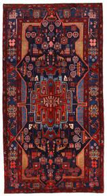 Nahavand Matta 152X282 Äkta Orientalisk Handknuten Hallmatta Mörkröd/Mörklila (Ull, Persien/Iran)