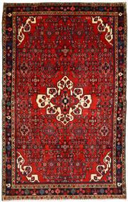 Hosseinabad Matta 156X250 Äkta Orientalisk Handknuten Mörkröd/Roströd (Ull, Persien/Iran)