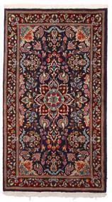 Kerman Matta 87X157 Äkta Orientalisk Handknuten Mörkröd/Svart (Ull, Persien/Iran)