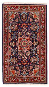 Kerman Matta 91X162 Äkta Orientalisk Handknuten Mörkröd/Mörklila (Ull, Persien/Iran)