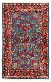 Kerman Matta 92X149 Äkta Orientalisk Handknuten Mörkröd/Blå (Ull, Persien/Iran)