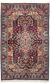 Kerman Matta 92X147 Äkta Orientalisk Handknuten Mörklila/Mörkröd (Ull, Persien/Iran)