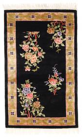 Kina Art Silke 120 Line Matta 91X152 Äkta Orientalisk Handknuten Svart/Brun ( Kina)