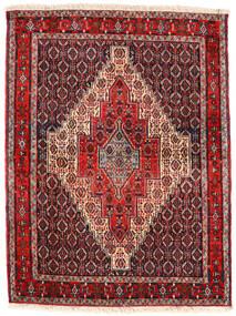 Senneh Matta 123X163 Äkta Orientalisk Handknuten Mörkbrun/Mörkröd (Ull, Persien/Iran)
