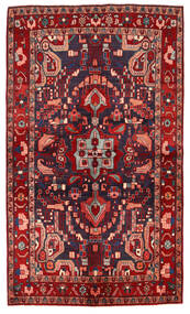 Nahavand Matta 143X244 Äkta Orientalisk Handknuten Mörkröd/Mörkblå (Ull, Persien/Iran)