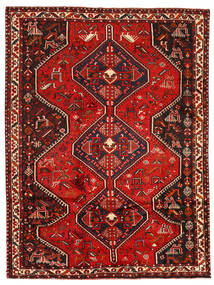 Shiraz Matta 209X280 Äkta Orientalisk Handknuten Mörkröd/Mörkbrun (Ull, Persien/Iran)