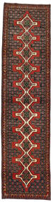 Senneh Matta 93X380 Äkta Orientalisk Handknuten Hallmatta Mörkröd/Mörkbrun (Ull, Persien/Iran)