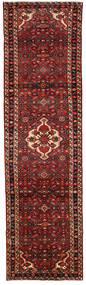 Hosseinabad Matta 86X317 Äkta Orientalisk Handknuten Hallmatta Mörkröd/Mörkbrun (Ull, Persien/Iran)