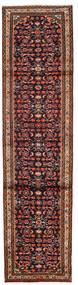 Hamadan Matta 76X300 Äkta Orientalisk Handknuten Hallmatta Mörkbrun/Mörkröd (Ull, Persien/Iran)