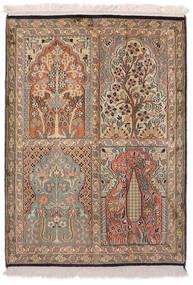 Kashmir Äkta Silke Matta 64X91 Äkta Orientalisk Handknuten Brun/Vit/Cremefärgad (Silke, Indien)