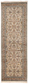 Kashmir Äkta Silke Matta 95X279 Äkta Orientalisk Handknuten Hallmatta Ljusgrå/Mörkbrun (Silke, Indien)