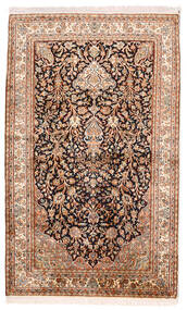 Kashmir Äkta Silke Matta 96X156 Äkta Orientalisk Handknuten Mörkbrun/Beige (Silke, Indien)