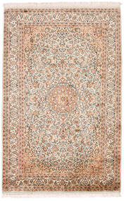 Kashmir Äkta Silke Matta 98X152 Äkta Orientalisk Handknuten Beige/Mörkbrun (Silke, Indien)
