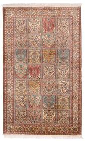 Kashmir Äkta Silke Matta 97X159 Äkta Orientalisk Handknuten Mörkbrun/Beige (Silke, Indien)