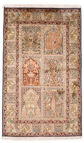 Kashmir Äkta Silke Matta 93X151 Äkta Orientalisk Handknuten Mörkbrun/Beige (Silke, Indien)