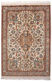 Kashmir Äkta Silke Matta 65X94 Äkta Orientalisk Handknuten Ljusbrun/Mörkbrun (Silke, Indien)