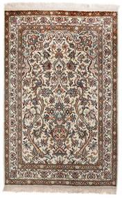 Kashmir Äkta Silke Matta 62X97 Äkta Orientalisk Handknuten Ljusgrå/Brun (Silke, Indien)