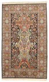 Kashmir Äkta Silke Matta 96X157 Äkta Orientalisk Handknuten Brun/Mörkgrå (Silke, Indien)