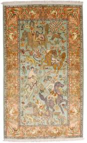 Kashmir Äkta Silke Matta 93X155 Äkta Orientalisk Handknuten Mörkbeige/Brun (Silke, Indien)