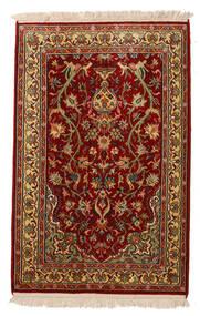 Kashmir Äkta Silke Matta 62X95 Äkta Orientalisk Handknuten Mörkröd/Mörkbrun (Silke, Indien)