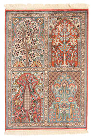 Kashmir Äkta Silke Matta 65X93 Äkta Orientalisk Handknuten Ljusbrun/Beige (Silke, Indien)