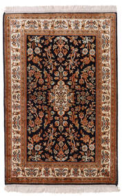 Kashmir Äkta Silke Matta 63X96 Äkta Orientalisk Handknuten Mörkröd/Svart (Silke, Indien)