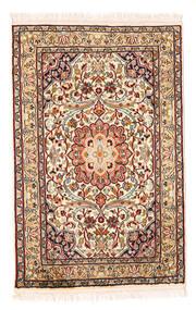 Kashmir Äkta Silke Matta 58X90 Äkta Orientalisk Handknuten Beige/Mörkbrun (Silke, Indien)