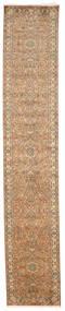 Kashmir Äkta Silke Matta 83X457 Äkta Orientalisk Handknuten Hallmatta Ljusbrun/Brun (Silke, Indien)