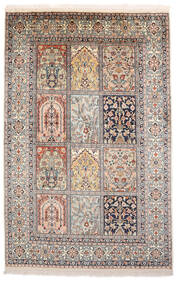 Kashmir Äkta Silke Matta 93X143 Äkta Orientalisk Handknuten Ljusgrå/Brun (Silke, Indien)