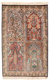Kashmir Äkta Silke Matta 62X96 Äkta Orientalisk Handknuten Mörkbrun/Ljusbrun (Silke, Indien)