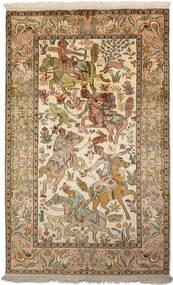 Kashmir Äkta Silke Matta 94X152 Äkta Orientalisk Handknuten Brun/Mörkbeige (Silke, Indien)