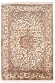 Kashmir Äkta Silke Matta 126X185 Äkta Orientalisk Handknuten Brun/Ljusrosa (Silke, Indien)