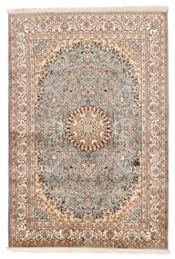 Kashmir Äkta Silke Matta 127X188 Äkta Orientalisk Handknuten Beige/Mörkbrun (Silke, Indien)