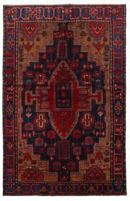 Nahavand Matta 151X222 Äkta Orientalisk Handknuten Mörkröd/Svart (Ull, Persien/Iran)