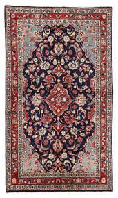 Sarough Matta 130X226 Äkta Orientalisk Handknuten Mörklila/Mörkröd (Ull, Persien/Iran)