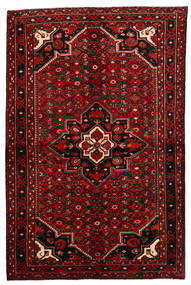 Hosseinabad Matta 164X250 Äkta Orientalisk Handknuten Mörkröd/Roströd (Ull, Persien/Iran)
