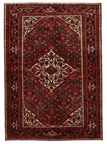 Hosseinabad Matta 155X220 Äkta Orientalisk Handknuten Mörkröd (Ull, Persien/Iran)