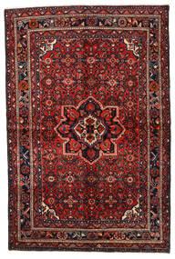 Hosseinabad Matta 154X235 Äkta Orientalisk Handknuten Mörkröd/Svart (Ull, Persien/Iran)