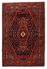 Nahavand Matta 118X180 Äkta Orientalisk Handknuten Mörkröd/Röd (Ull, Persien/Iran)