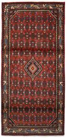 Hosseinabad Matta 89X185 Äkta Orientalisk Handknuten Hallmatta Mörkröd/Mörkbrun (Ull, Persien/Iran)