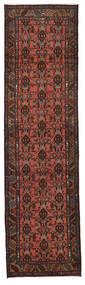 Hamadan Matta 77X285 Äkta Orientalisk Handknuten Hallmatta Mörkbrun/Mörkröd (Ull, Persien/Iran)