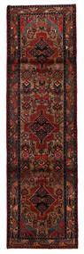 Hamadan Matta 81X277 Äkta Orientalisk Handknuten Hallmatta Mörkbrun/Mörkröd (Ull, Persien/Iran)