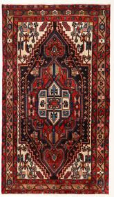Nahavand Matta 113X202 Äkta Orientalisk Handknuten Mörkröd/Beige (Ull, Persien/Iran)