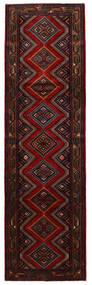 Hamadan Matta 85X292 Äkta Orientalisk Handknuten Hallmatta Mörkbrun/Mörkröd (Ull, Persien/Iran)