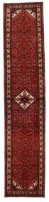 Hosseinabad Matta 89X425 Äkta Orientalisk Handknuten Hallmatta Mörkröd/Mörkbrun (Ull, Persien/Iran)