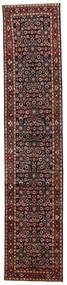 Hosseinabad Matta 82X391 Äkta Orientalisk Handknuten Hallmatta Mörkröd/Mörkgrå (Ull, Persien/Iran)
