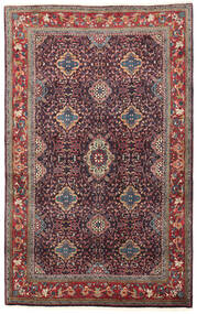 Bidjar Matta 134X209 Äkta Orientalisk Handknuten Mörklila/Mörkröd (Ull, Persien/Iran)