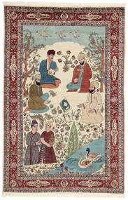 Sarough Matta 143X213 Äkta Orientalisk Handknuten Beige/Mörkbrun (Ull/Silke, Persien/Iran)